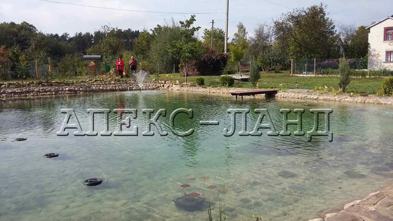 Искусственный пруд на даче. Этот садовый пруд выполнен из прудовой  пленки ПВХ торговой марки «Heisner».
